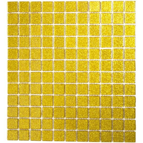 Glitter Guld Kristall Glasmosaik