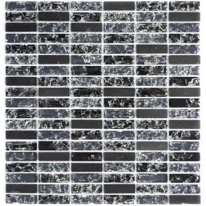 Brickmosaik Kristall Natursten Mix Svart