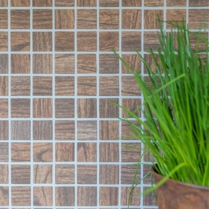 Wood Mosaik Glas Träoptik Brun