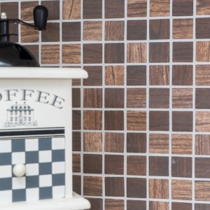 Wood Mosaik Glas Träoptik Brun Mix