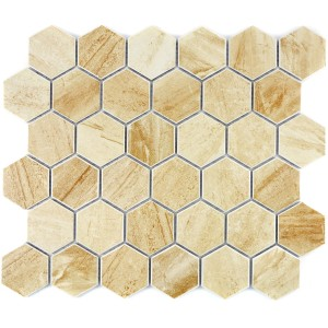 Beige Hexagon Klinker Mosaik Matt