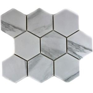 Hexagon Klinker Mosaik Carrara