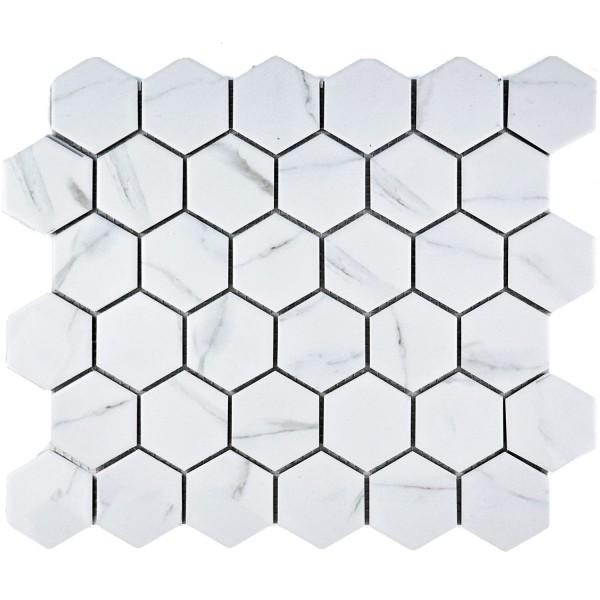 Carrara Hexagon Klinker Mosaik