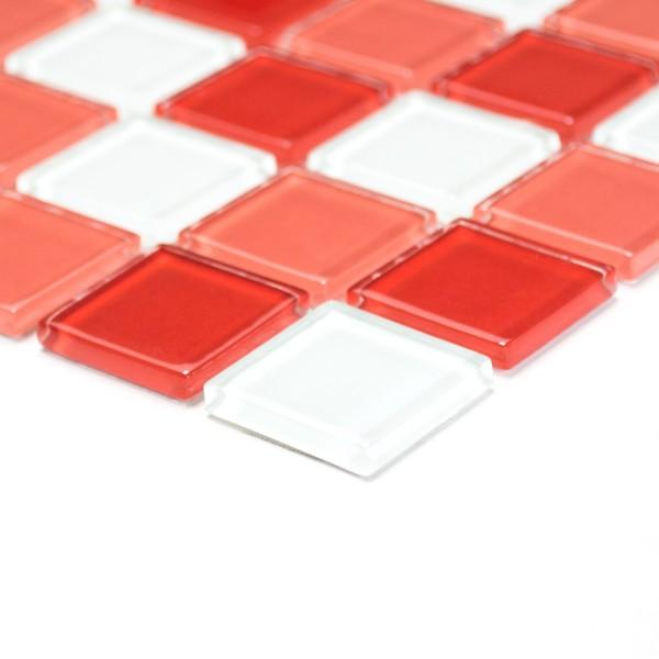 Glas Kristallmosaik Röd Vit Mix