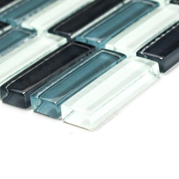 Glas Kristall Stavmosaik Grå Mix