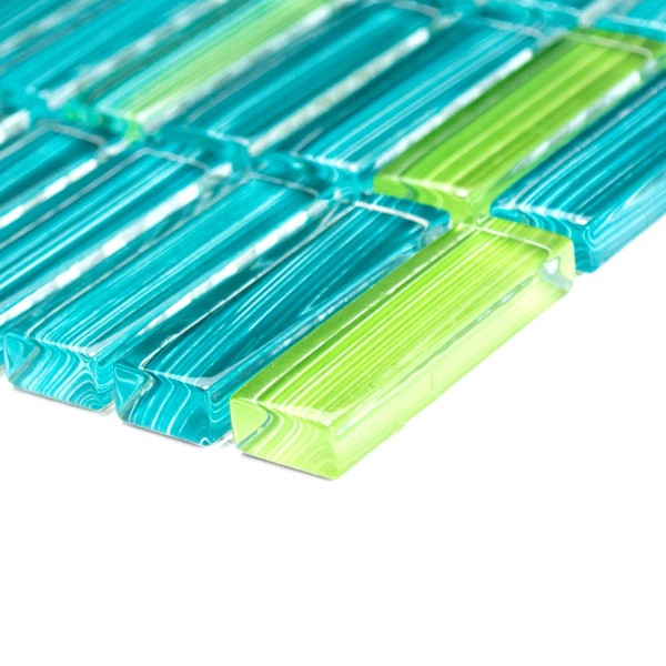 Glas Kristall Stavmosaik Streck Grön Mix