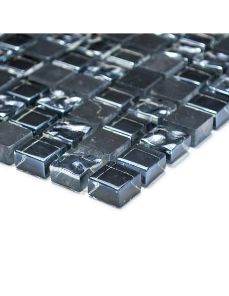 Mosaik Kristall Marmor Svart Grå Mix