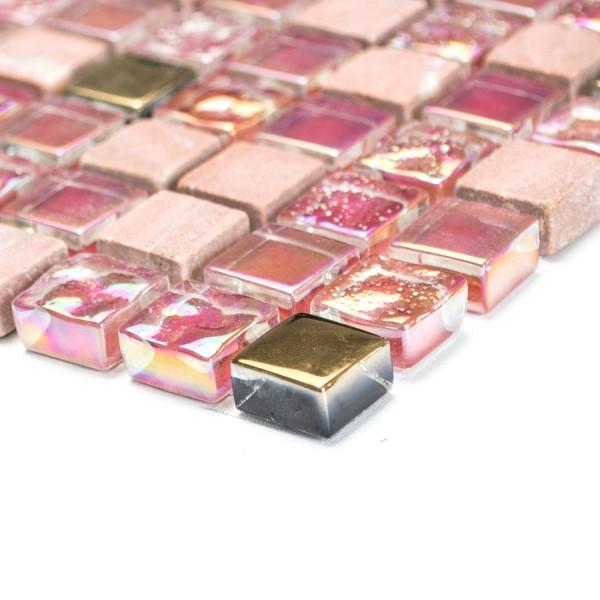 Kristall Marmor Glasmosaik Röd Rosa Guld Mix
