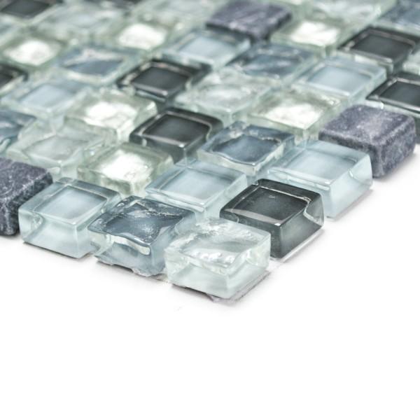 Mosaik Kristall Marmor Silver Grå Mix