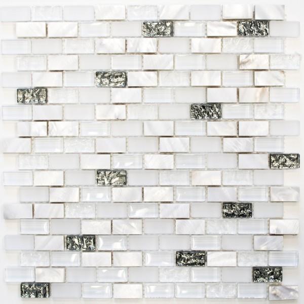 Mosaik Kristall Sten Pärlemor Vit