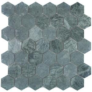 Hexagon Marmor Stenmosaik Grön