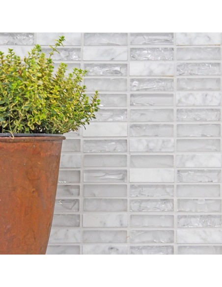 Vit Brick Mosaik Kristall Natursten Mix | Ekosten.se